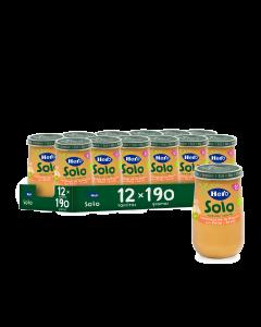 Solo Verduras de la huerta con pollo y arroz ecológico - Pack de 12 unidades.